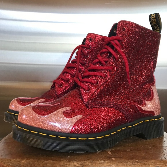 dr martens 1460 pascal black glitter flame flat ankle boots
